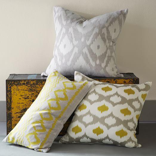 velvet ikat embroidered ogee pillow cover west elm. Black Bedroom Furniture Sets. Home Design Ideas