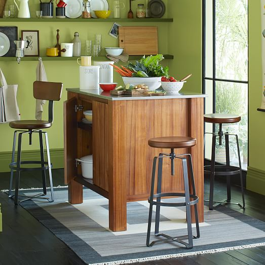 Adjustable Rustic Industrial Stool With Back West Elm