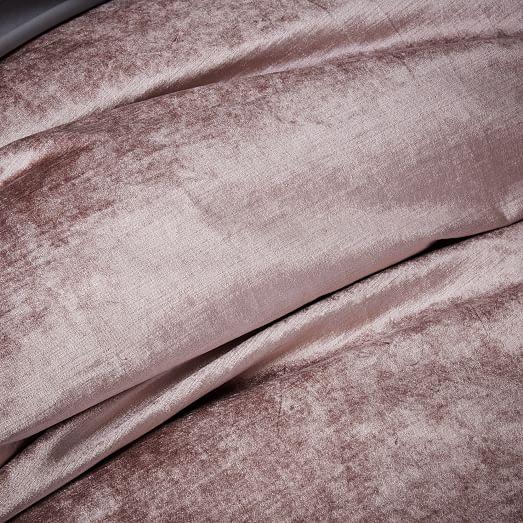 Washed Cotton Luster Velvet Duvet Cover Shams Dusty