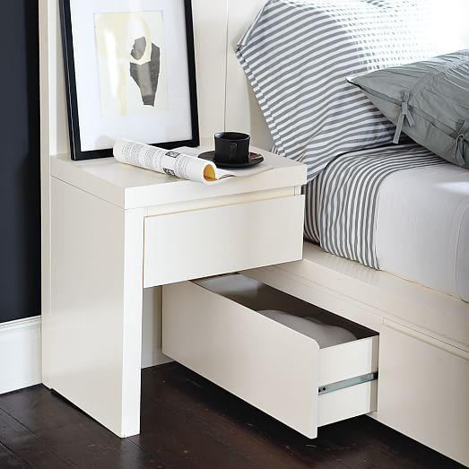Storage Bed Nightstand - White   west elm