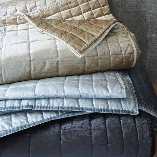 Washed Cotton Luster Velvet Quilt Shams West Elm