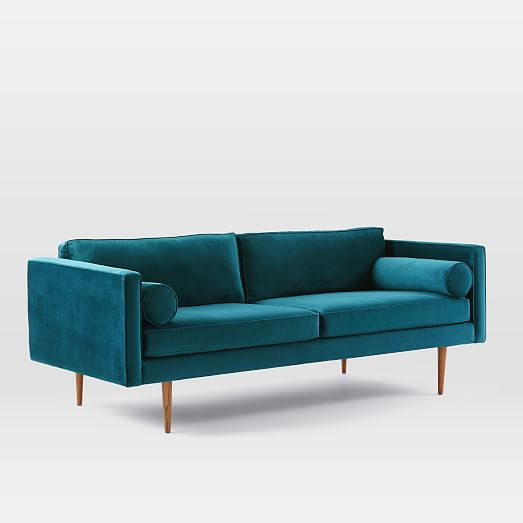 monroe mid century sofa celestial blue luster velvet west elm. Black Bedroom Furniture Sets. Home Design Ideas