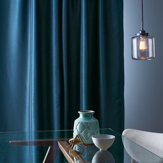 greenwich curtain blackout liner blue lagoon west elm
