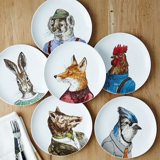 Dapper Animal Salad Plates West Elm