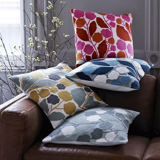 crewel blossom pillow cover horseradish west elm. Black Bedroom Furniture Sets. Home Design Ideas
