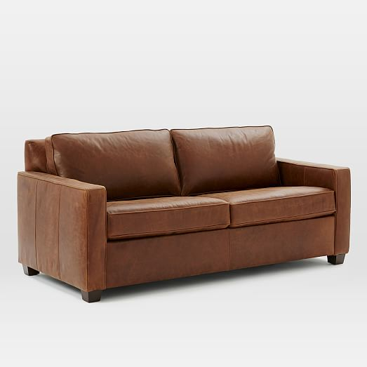 Henry basic leather sleeper sofa queen molasses for Leather sleeper sofa