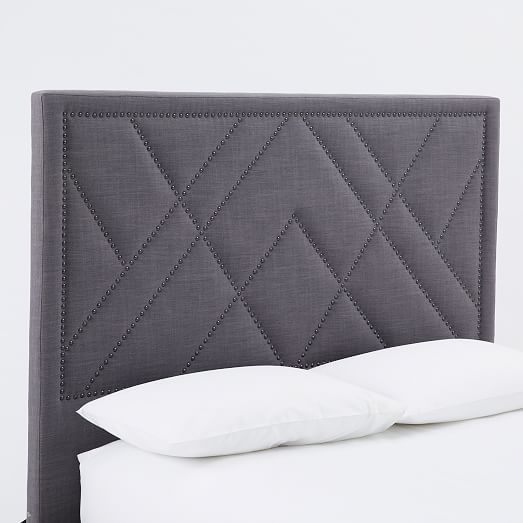 Upholstered Headboard Nailhead: Patterned Nailhead Headboard - Upholstered