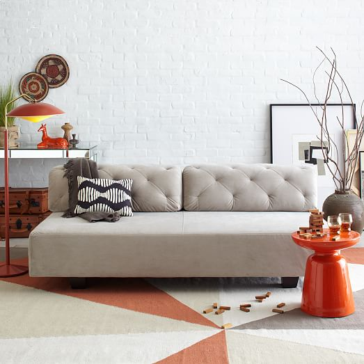 Tillaryr tufted sofa 745quot west elm for West elm tillary sectional sofa