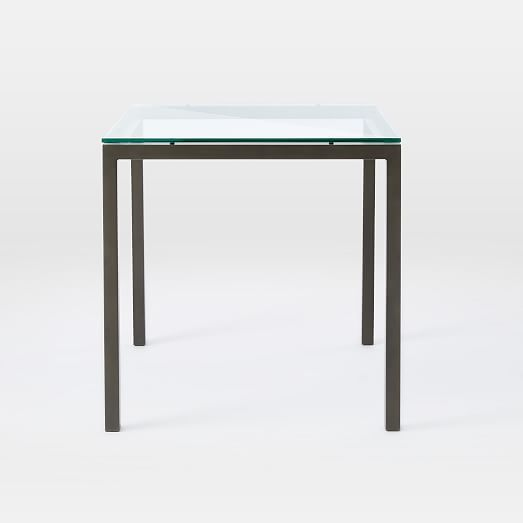 Box frame square dining table glass west elm for Dining table frame