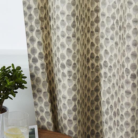 Cotton Canvas Stamped Dots Curtain Platinum West Elm