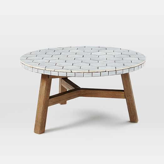 Mosaic Tiled Coffee Table Gray Spider Web Top West Elm