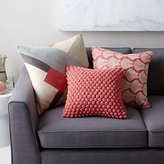Crewel Modern Blocks Pillow Cover - Rose Bisque west elm