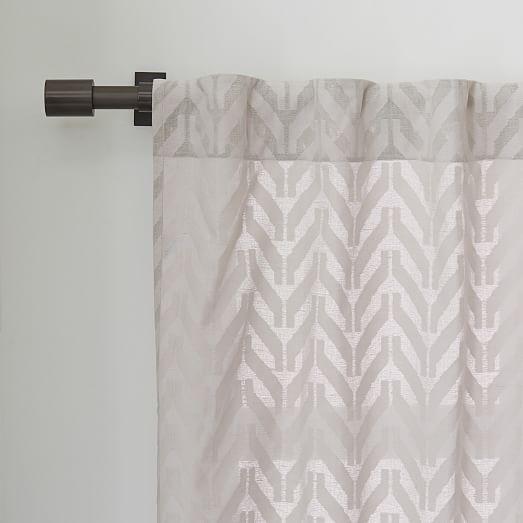 Sheer chevron curtain frost gray west elm