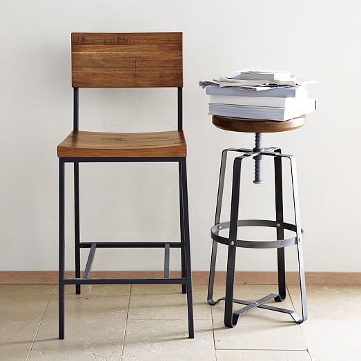 Rustic Industrial Stool West Elm