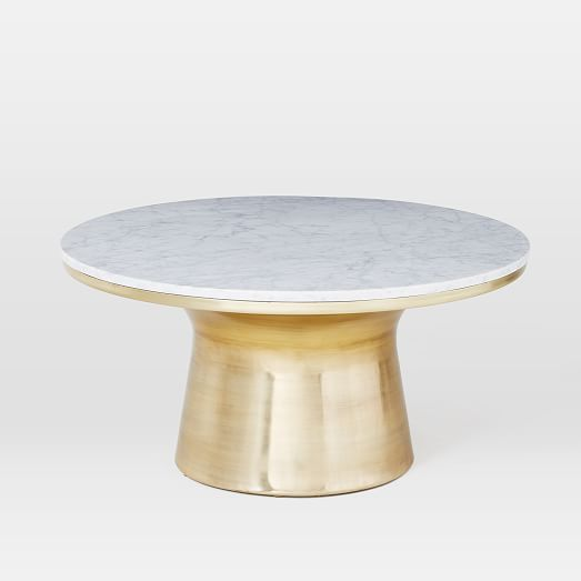 Marble Top Coffee And Side Tables: Marble-Topped Pedestal Coffee Table