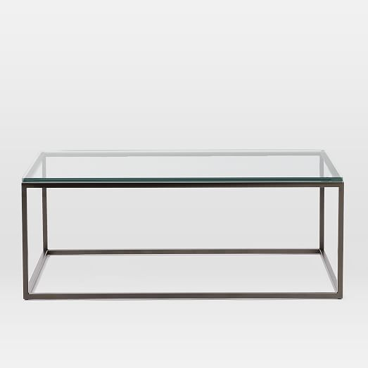 Box Frame Coffee Table Glass Antique Bronze West Elm