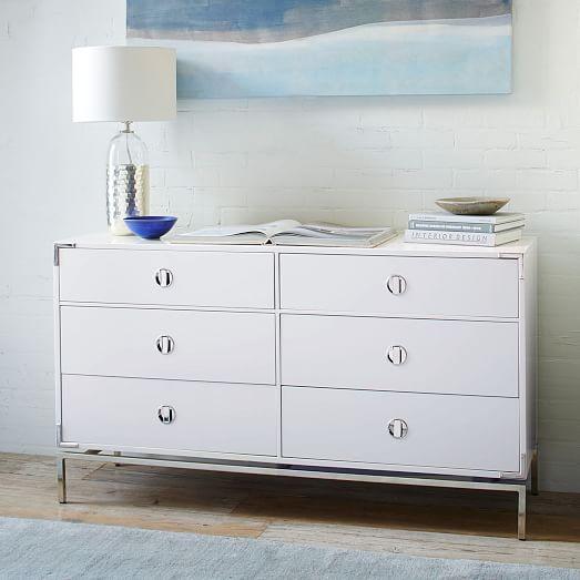 malone campaign 6 drawer dresser white lacquer west elm. Black Bedroom Furniture Sets. Home Design Ideas