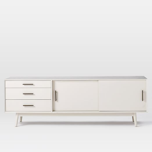 Mid century media console 80 white west elm White media console