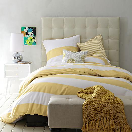 stripe duvet cover white citron west elm. Black Bedroom Furniture Sets. Home Design Ideas
