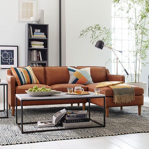 hamilton 2 piece leather chaise sectional tan west elm. Black Bedroom Furniture Sets. Home Design Ideas