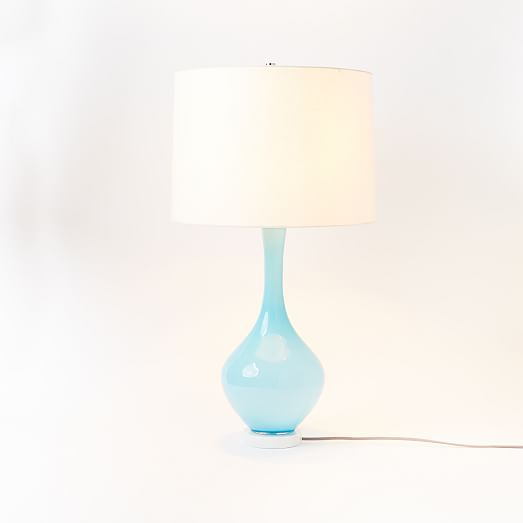 west elm rejuvenation colored glass table lamp light blue west. Black Bedroom Furniture Sets. Home Design Ideas