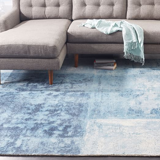 West Elm Blue And White Rug: Distressed Rococo Wool Rug - Blue Lagoon