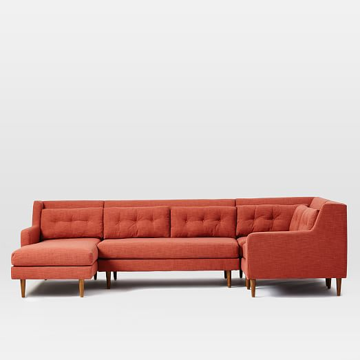 Crosby 4 piece chaise sectional west elm for 4 piece sectional with chaise