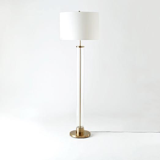 Acrylic Column Floor Lamp Antique Brass West Elm