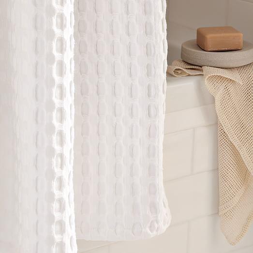 Waffle Grommet Shower Curtain White