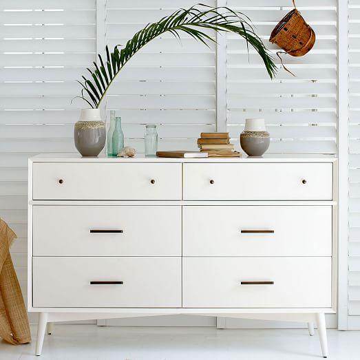 Mid Century 6 Drawer Dresser White West Elm