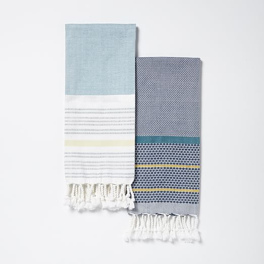 Striped Gem Border Stripe Hammam Hand Towel Set West Elm