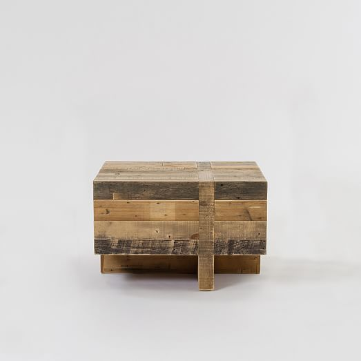 Block Wood Side Table ~ Emmerson™ reclaimed wood block side table west elm