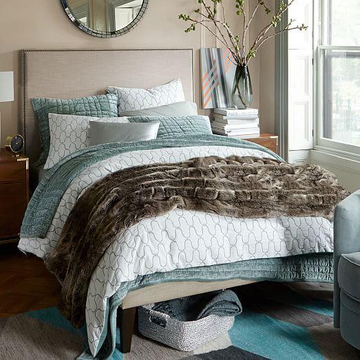 narrow leg upholstered bed frame linen weave west elm. Black Bedroom Furniture Sets. Home Design Ideas
