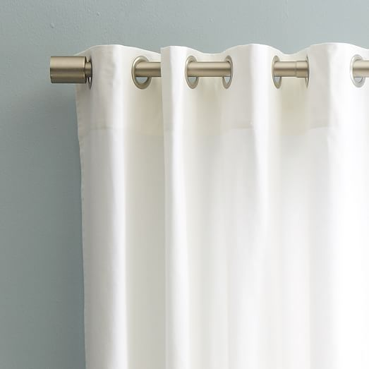 Cotton Canvas Black Eyelet Lined Curtain: Cotton Canvas Grommet Curtain - White