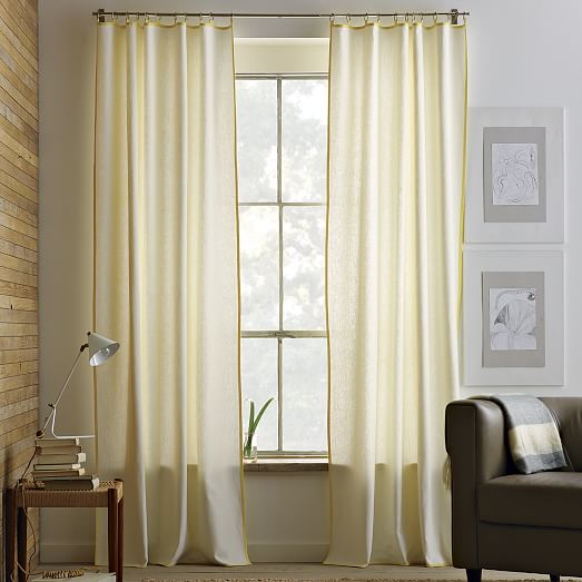 Narrow frame curtain ivory citron west elm - Narrow window curtain ideas ...