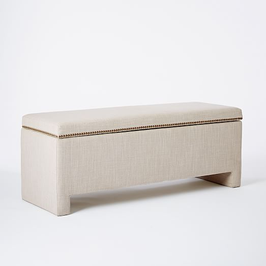 Nailhead Upholstered Storage Bench West Elm