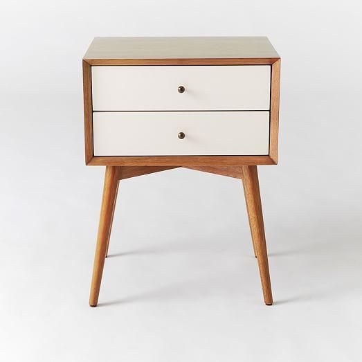 mid century nightstand white acorn west elm. Black Bedroom Furniture Sets. Home Design Ideas
