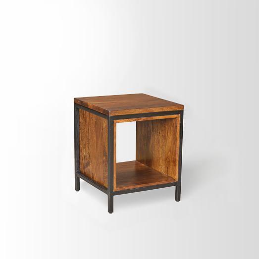 metal wood side table west elm. Black Bedroom Furniture Sets. Home Design Ideas