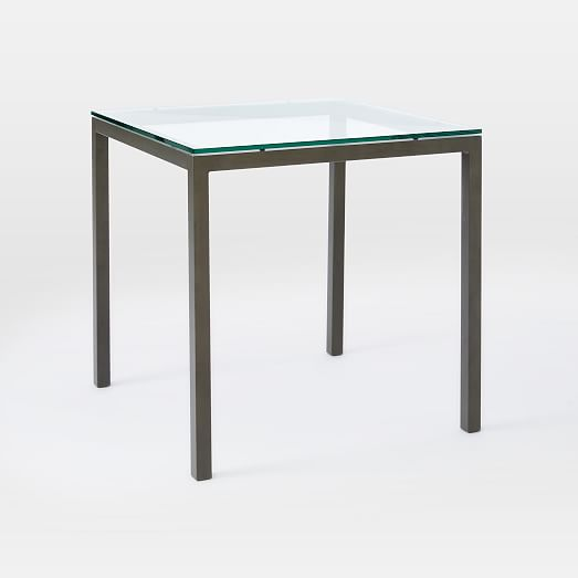 Box frame square dining table glass west elm for Square glass dining table