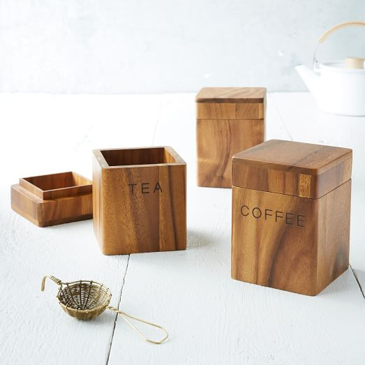 acacia wood canisters west elm wooden kitchen canister set for the home pinterest