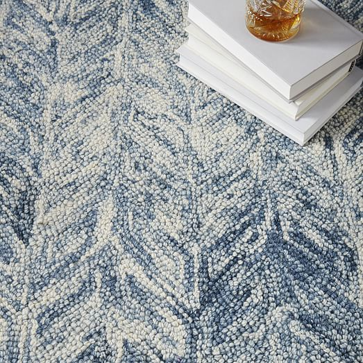 Vines Wool Rug Blue Lagoon West Elm