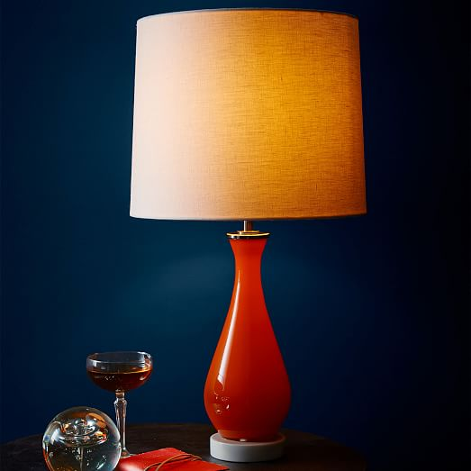 west elm rejuvenation colored glass table lamp orange west elm. Black Bedroom Furniture Sets. Home Design Ideas