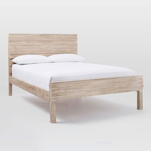 Stria Bed Frame Queen Cerused White