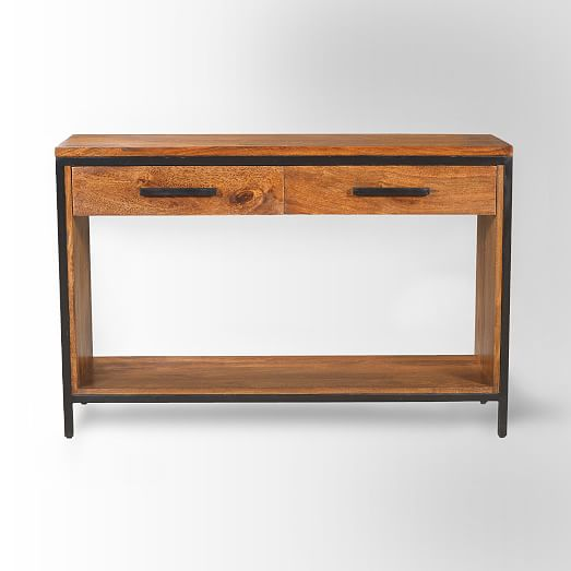 Metal wood console table west elm for Metal and wood console tables