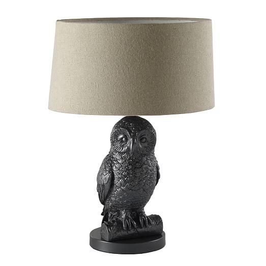 Owl Table Lamp Gunmetal Natural West Elm