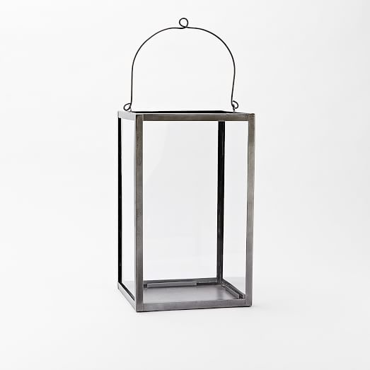 Simple Metal Lantern, Tall, Brushed Nickel