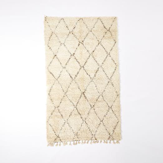 Beni Ouarian Rug, 6'x9.6', Ivory