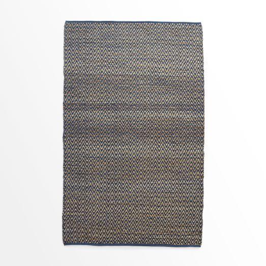Jute Chenille Herringbone Rug, Blue Lagoon, 3'x5'
