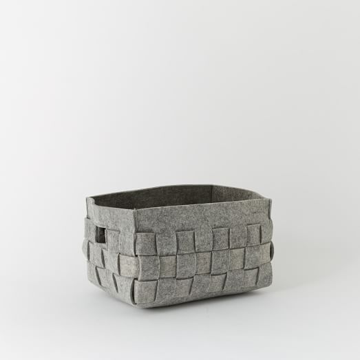 Woven Felt Basket, Small, Gray