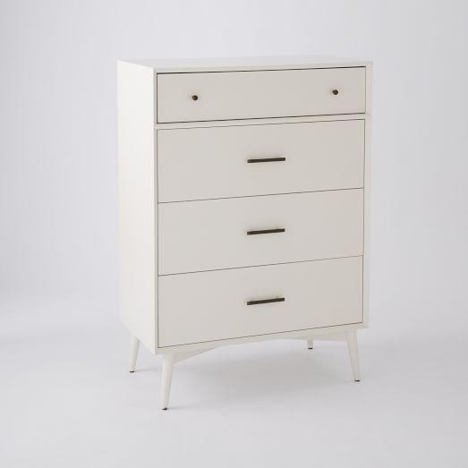Mid-Century 4 Drawer Dresser, White